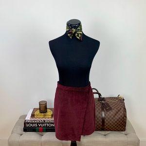 Abercrombie & Fitch Corduroy Wrap-Front Mini Skirt